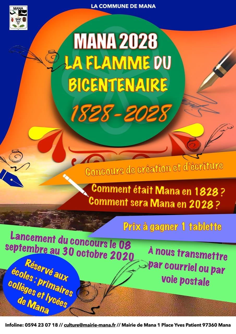 Affiche La flamme du bicentenaire crea ecriture