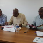 Le President et le Directeur de la CAF Guyane signent la Convention avec le Sénateur Maire de Mana