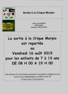 AFFICHE Sortie crique morpio vendredi 16 août 2019