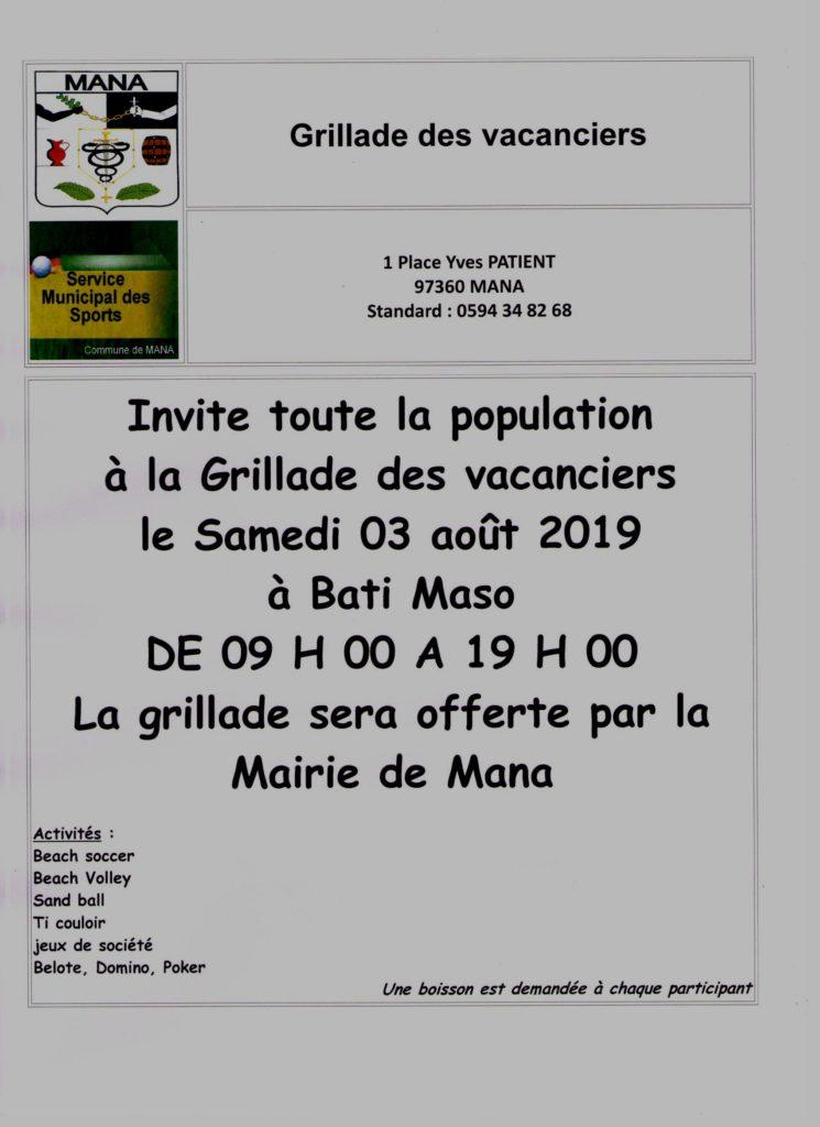 Affiche Grillade des vacanciers 03 08 2019