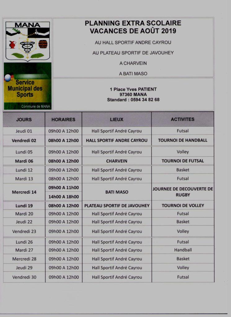 Planning extra scolaires Vacances de Août 2019 off