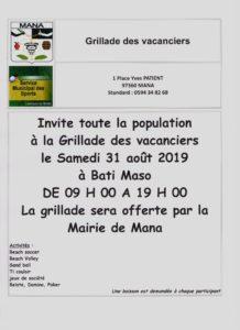 Grillade des vacanciers prévue le samedi 31 août 2019
